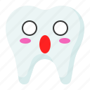 emoji, emoticon, face, surprised, tooth icon