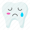 cry, emoji, emoticon, face, tooth icon