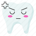 angry, emoji, emoticon, face, tooth