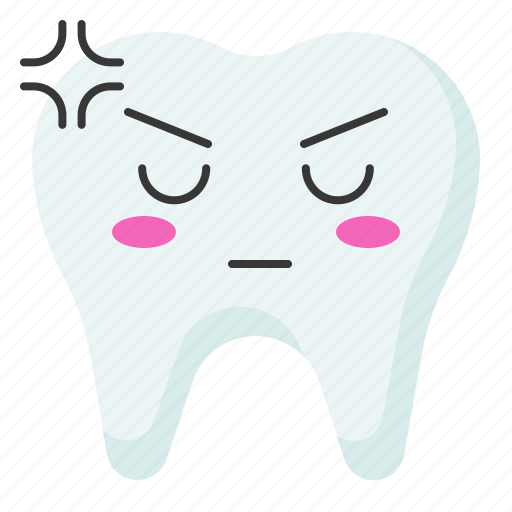 angry, emoji, emoticon, face, tooth icon