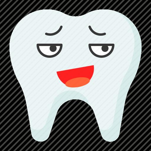 emoji, emoticon, face, mocking, tooth icon