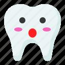 emoji, emoticon, face, surprise, surprised, tooth icon