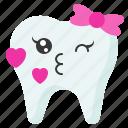 emoji, emoticon, face, kiss, love, tooth icon