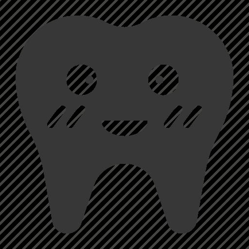 blush, dental, emoji, emoticon, face, tooth icon