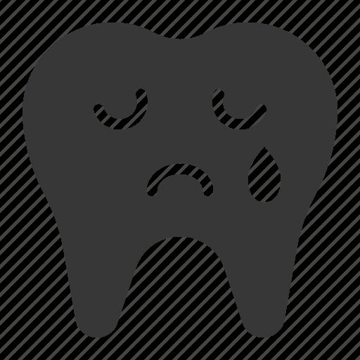 cry, dental, emoji, emoticon, face, tooth icon