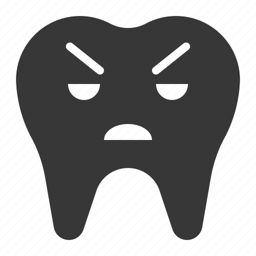 angry, dental, emoji, emoticon, face, tooth icon