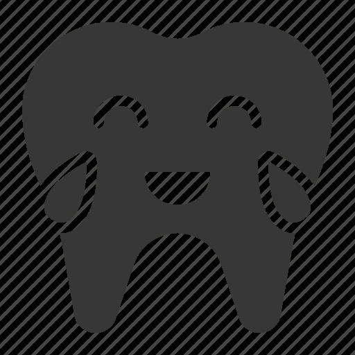 dental, emoji, emoticon, face, laugh, tooth icon