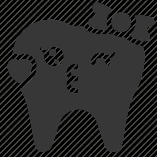 dental, emoji, emoticon, face, kiss, tooth icon