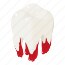 blood, bloody, care, cartoon, dental, isometric, tooth icon