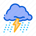 cloud, lightning, rain, sun