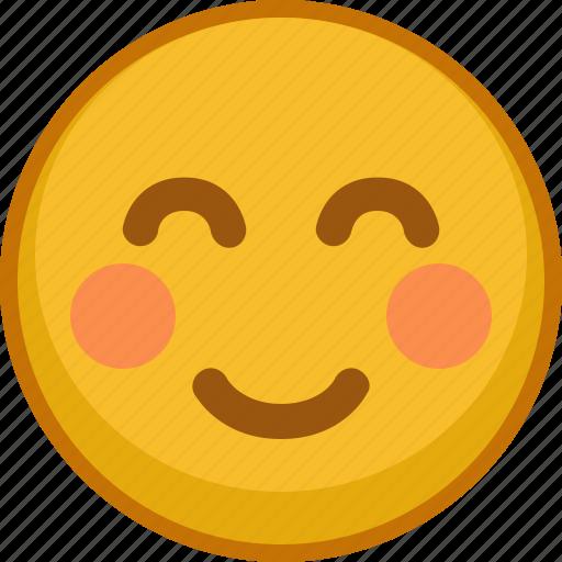 blush, emoji, emoticon, emotion, shy, smile, smiley icon