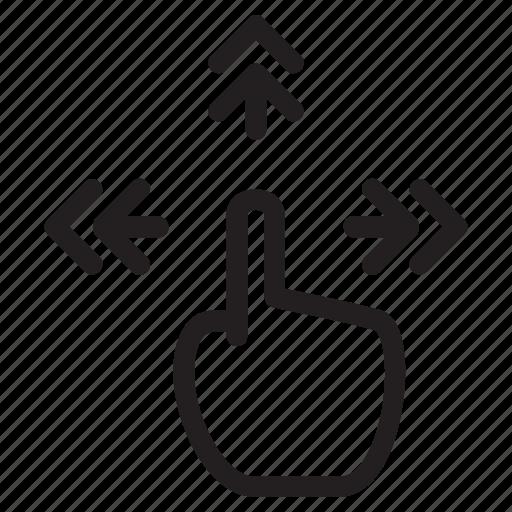drag, finger, four, gestures, side, single, swipe icon