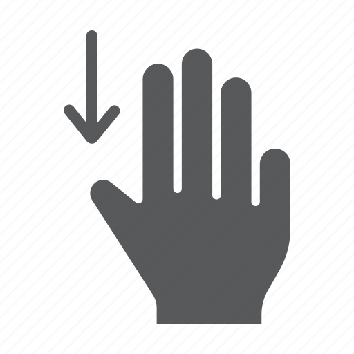 down, drag, finger, gesture, hand, three, touch icon