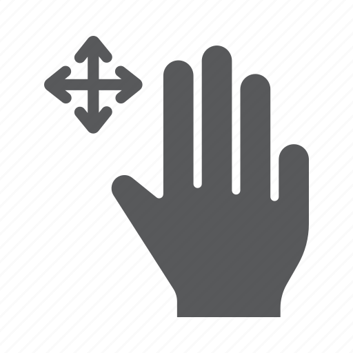 drag, finger, free, gesture, hand, three, touch icon