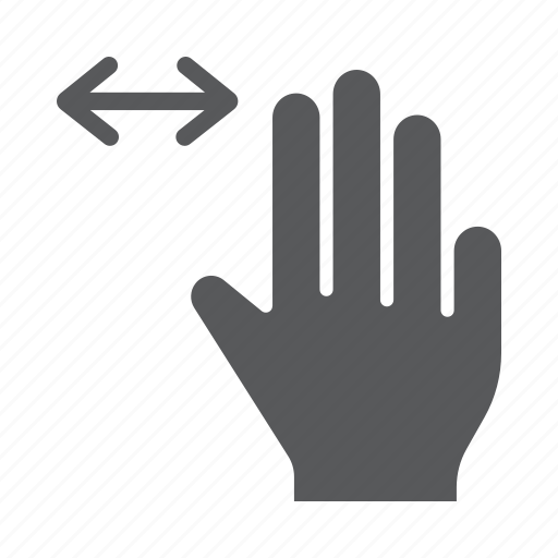 finger, gesture, hand, horizontal, scroll, three, touch icon