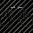 finger, gesture, hand, horizontal, horizontal spread, spread, swipe icon