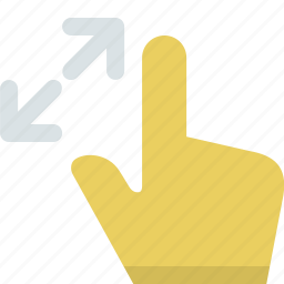 action, direction, expand, finger, gesture, interaction, pinch icon