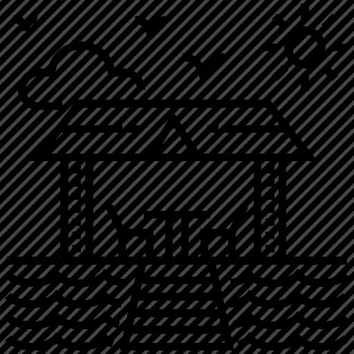 cottage, hut, lodge, loghome, resort, tropical resort icon
