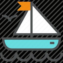 adventure, boat, sail, sailing, sea, ship, voyage, yacht, yachting icon