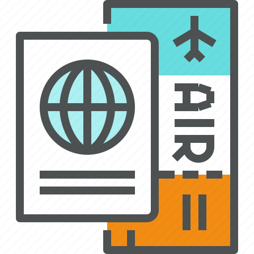 air, airline, airplane, document, passport, ticket, tourist, travel icon