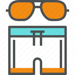 accessories, beach, hot, shorts, summer, sunglasses, swimsuit, vacation icon