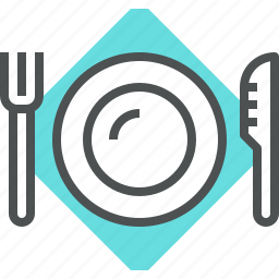 cutlery, flatware, food, fork, knife, plate, serving, tableware, utensils icon