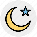 islam, moon, moon and star, night, star, symbolic moon icon