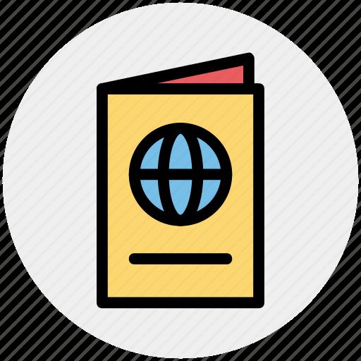 book, document, globe, identification, passport, visa icon
