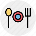 dining, eating, fork, fork plate spoon, plate, spoon icon