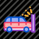 accident, auto, car, crash, wall