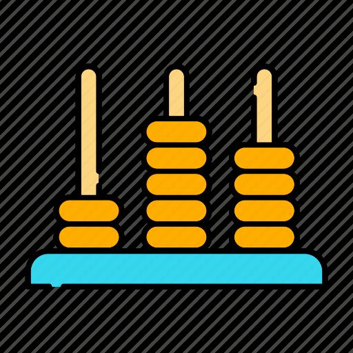 abacus, brain practice, calculator, mathematics, tools and utensils icon