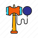 duce ball, entertainment, kendama, retro, toy icon