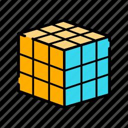 entertainment, rubik cube, shape, square, trends icon