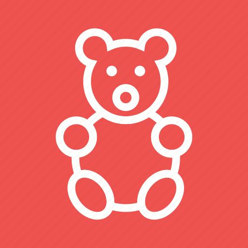 bear, bow, brown, small, stuffed, teddy, toy icon