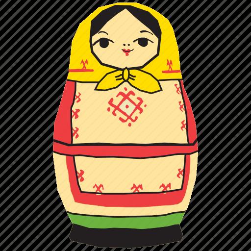 doll, girl, matryoshka, nesting, russia, russian, toy icon