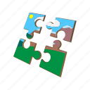 cartoon, idea, jigsaw, match, part, piece, puzzle icon
