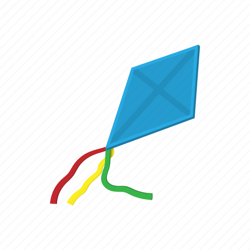 cartoon, fun, high, kite, play, toy, wind icon
