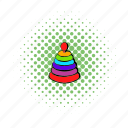 child, comics, game, play, pyramid, red, toy icon