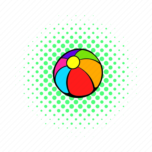 ball, comics, game, play, red, sphere, toy icon