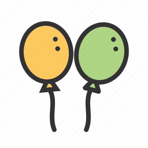 balloon, balloons, celebration, color, decoration, green, yellow icon