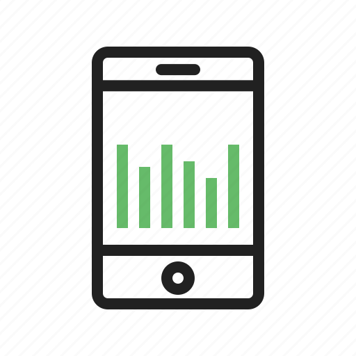 business, cell, graph, mobile, stats, success, technology icon