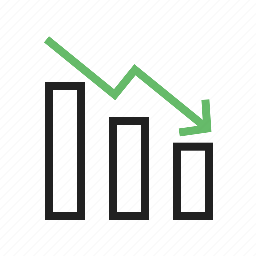 arrow, business, chart, down, graph, market, stock icon
