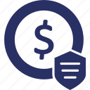bank, dollar, money, protected money, protection icon