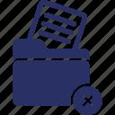 delete document, file folder, cross document, file, document icon