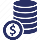 coins, coins with dollar sign, dollar sign, money icon