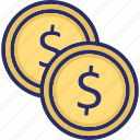 coins, coins with dollar sign, money icon