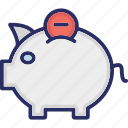 minus money, money box, penny bank, piggy bank, remove money icon