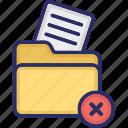 cross document, document, file, delete document, file folder icon