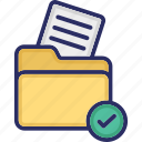 checked document, document, file, file folder, folder icon