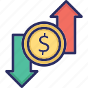 currency, dollar, loss, profit, business icon